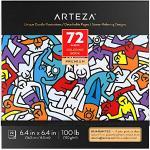 Arteza Kolorowanka dla dorosłych, kolorowanka z 72 motywami, Doodle kolorowanka 150 g/m², 16,3 x 16,3 cm, zdejmowane strony, antystresowe i relaks