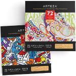 Arteza Kolorowanka dla dorosłych, wzory zwierząt i doodle, 2 sztuki, 144 motywy, 150 g/m2, 16,3 x 16,3 cm, kolorowanka antystresowa i relaks, zdejmowane strony