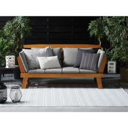 Beliani Sofa ogrodowa drewniana jasna regulowane podłokietniki PORTICI