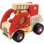 Bino Drewniane auto Straż pożarna, czerwony