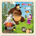 Bino Puzzle Masza i Niedźwiedź z kozą, 15 x 15 cm