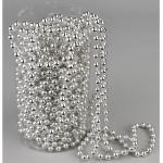 Bożonarodzeniowa girlanda z perełek, srebrny, 15 m