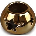 Ceramiczny świecznik bożonarodzeniowy, złoty