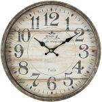 Clayre & Eef 6KL0454 retro zegar drewniany Ø 30 x 6 cm w stylu wiejskiego domu vintage Deco / 1 bateria AA (nie wchodzi w zakres dostawy)