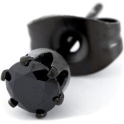 Czarny kolczyk z cyrkonią 4 mm