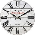 Drewniany zegar ścienny At the beach, śr. 34 cm