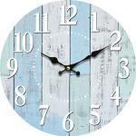 Drewniany zegar ścienny Blue deck, śr. 34 cm