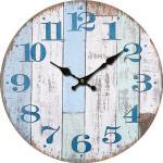 Drewniany zegar ścienny Chiffres bleus, śr. 34 cm