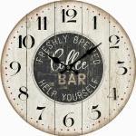 Drewniany zegar ścienny Coffee bar, śr. 34 cm