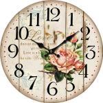 Drewniany zegar ścienny Flower of love, śr. 34 cm