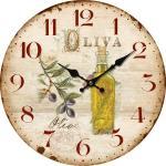 Drewniany zegar ścienny La oliva, śr. 34 cm
