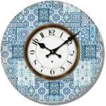 Drewniany zegar ścienny Mosaic tiles, śr. 34 cm