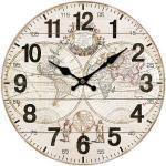 Drewniany zegar ścienny Old map, śr. 34 cm