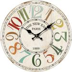 Drewniany zegar ścienny Paris 1889, śr. 34 cm