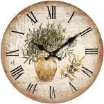 Drewniany zegar ścienny Vintage olives, śr. 34 cm