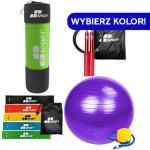 Duża Piłka Gimnastyczna Yoga Ball [ 65cm ] + Skakanka Crossfit Bokserska Szybka Aluminiowa Jump Rope Aluminium [ 3m ] + Gruba Mata Gimnastyczna Fitne