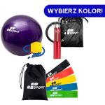 Duża Piłka Gimnastyczna Yoga Ball [ 65cm ] + Skakanka Crossfit Bokserska Szybka Aluminiowa Jump Rope Aluminium [ 3m ] + Zestaw 5 Gum do Ćwiczeń Gumy
