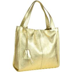 Duża torebka włoska shopper bag złota metaliczna skóra naturalna