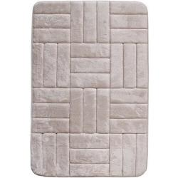 Dywanik łazienkowy z pianką pamięciową Kwadraty kremowy, 40 x 50 cm