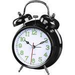 Hama analogowy budzik z baterią (zegar retro zasilany bateriami z funkcją alarmu, budzik z dzwonkiem ze światłem, fluorescencyjna wskazówka godzinowa i minutowa, 12,5 x 6,5 x 17 cm) czarny, biały