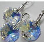 Kryształy Aurora Piękny Komplet Srebro Octagon