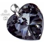 Kryształy duży wisiorek SERCE SILVER NIGHT Srebro