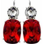Kryształy Piękne Kolczyki Czerwone Crystal Srebro
