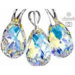 Kryształy piękny komplet AURORA SREBRO