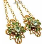 Kryształy Unikat Długie Kolczyki Green Venue Gold