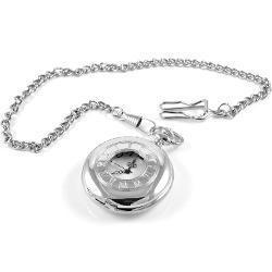 Kwarcowy zegarek kieszonkowy w srebrnym tonie