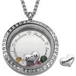 Medalion Locket z Grawerowanymi, pływającymi charmsami- Dla Mom lub Grandma