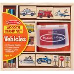 Melissa & Doug drewniane stemple w pudełku - Pojazdy i znaki