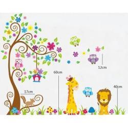 Naklejka dekoracyjna Kolorowy las zwierząt