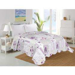 Narzuta na łóżko Kwiaty fioletowy, 220 x 240 cm