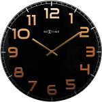 """NeXtime zegar ścienny""""CLASSY LARGE"""", bezgłośny, okrągły, ze szkła, czarny/miedziany, Ø 50 cm"""