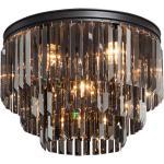 Okrągła lampa sufitowa kryształowa z dużych, czarnych kryształów Vitaluce (VE5155-1/6+3+1PL)