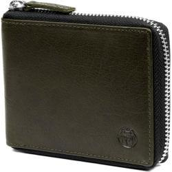 Oliwkowy skórzany portfel zapinany na zamek RFID Montreal