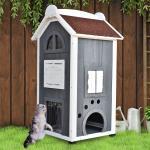 Pawhut® domek budka dla kota 2-piętrowa willa dach asfaltowy lite drewno szary 59 x 55 x 109 cm