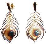Pawie pióra brązowe duże - kolczyki srebrne