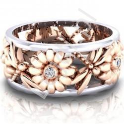 Pierścionek w kolorze miedzianym w kwiaty i ważki