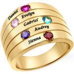 Pierścionek z Grawerami i Pięcioma kamieniami- Duży Rozmiar- pozłacany
