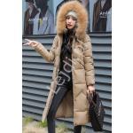 Pikowany płaszcz damski khaki , puchowa długa kurtka 9777