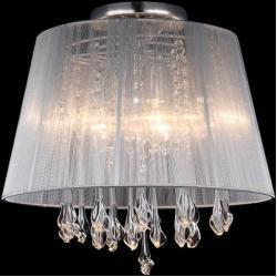 Plafon LAMPA sufitowa ISLA MXM1869-3 WH Italux klasyczna OPRAWA kryształowa abażurowa glamour crystal biała