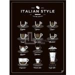Plakat Italian Style Coffee 40 x 50 cm