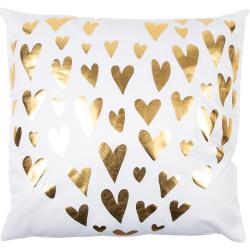 Poduszka Gold De Lux Srdce biały, 43 x 43 cm