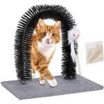 Relaxdays Łuk do drapania dla kota, łuk do depilacji, pielęgnacja i masaż, kocia mięta i mysz, wszystkie długości włosów, szary, 24,5 x 35 x 33 cm