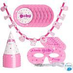Relaxdays, Różowa dekoracja na imprezę dziecięcą zestaw, 19-częściowy, zestaw imprezowy, dla dziewczynki, na imprezę z wikliną, talerze, okulary i kapelusze imprezowe, standard