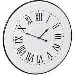 Relaxdays Zegar ścienny w stylu vintage, cyfry rzymskie, bez odgłosu tykania, zegar kuchenny, metal, antyczne wzornictwo, Ø 58 cm, biały, 1 sztuka