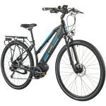 Rower elektryczny MOOBY 1.7 D17 28 cali damski Czarno-niebieski
