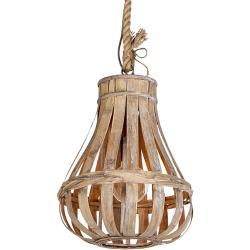 Rustykalna lampa wisząca drewno i lina 34cm - Excalibur